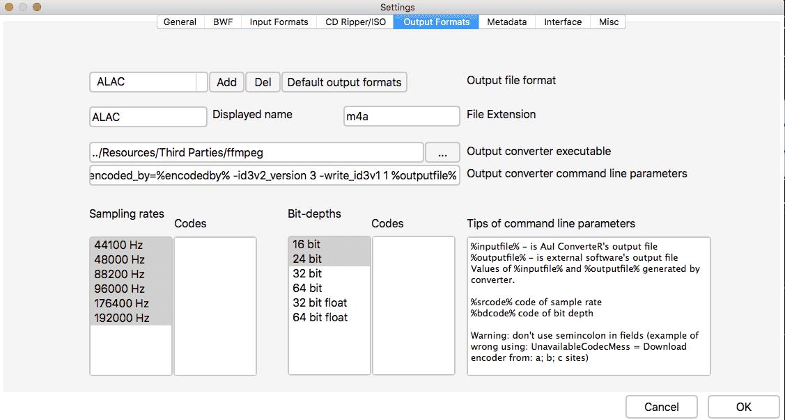 AuI ConverteR settings - Input formats