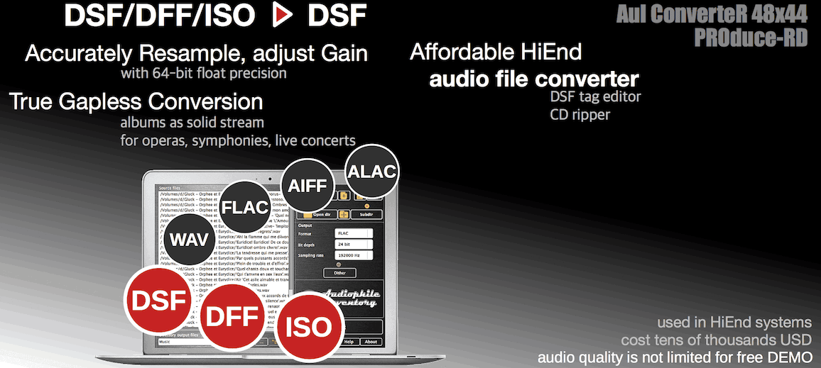 Audio converter DFF to DSF Mac OS X, Windows