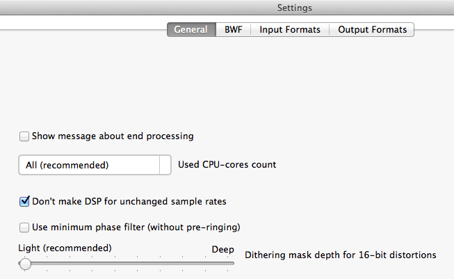 Dithering audio settings of AuI ConverteR 48x44 - Light