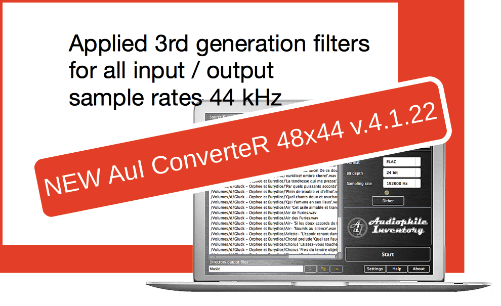 Audio converter AuI ConverteR 48x44 v.4.1.22. Replaced 2G filters to 3G for 44 kHz
