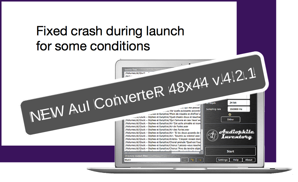 Audio converter AuI ConverteR 48x44 v.4.2.1. Fixed launch crash for some conditions