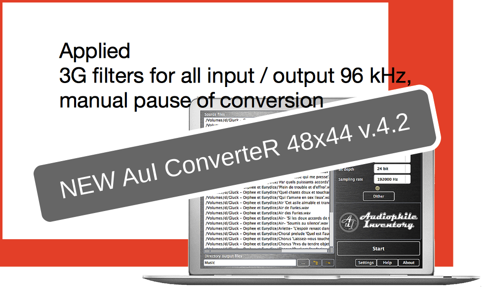 Audio converter AuI ConverteR 48x44 v.4.2. Replaced 2G filters to 3G for 96 kHz, pause conversion button