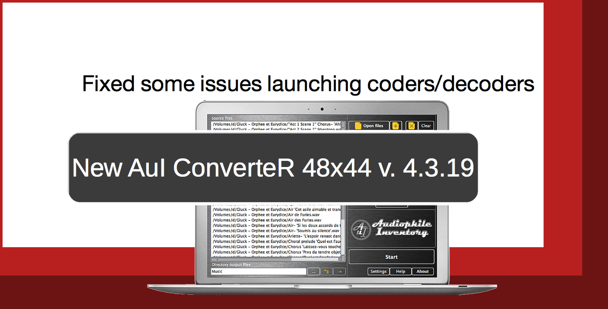 Audio converter AuI ConverteR 48x44 v.4.3.19. Fixed some troubles coders decoders