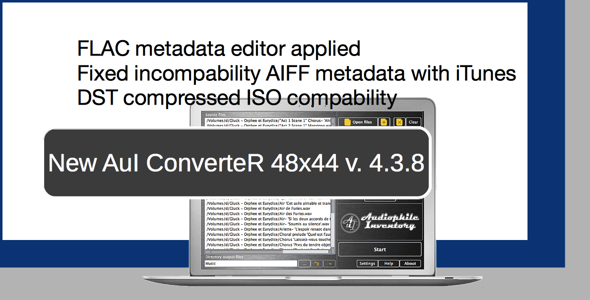 Audio converter AuI ConverteR 48x44 v.4.3.2. DFF decompressor binding ability