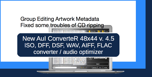Audio converter AuI ConverteR 48x44 v.4.5. Group editing artwork metadata