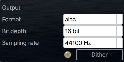 Output audio format panel