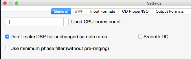 Settings for bit perfect conversion