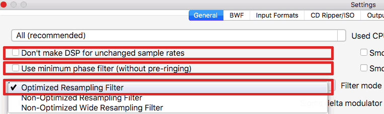Settings -resampling filter